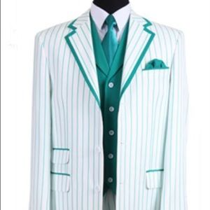 Other - Single Breasted White/Turquoise Pinstriped Tuxedo